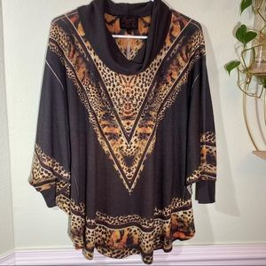 Animal print cowl neck sweater women's medium